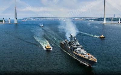 """2020 07 11 — {:ru}Модернизированный фрегат «Маршал Шапошников» вышел на первые ходовые испытания во Владивостоке{:}{:en}The modernized frigate """"Marshal Shaposhnikov""""went on the first sea trials in Vladivostok{:}"""